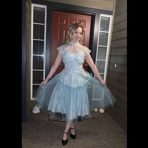 1950's Ice Blue Dreamy Party Dress